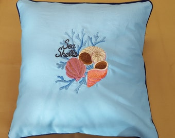 Seashells and Coral Shell Pillow Cover