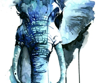 Elephant Watercolor Fine Art Giclee Print / Elephant painting / Safari wildlife painting / elephant lover gift