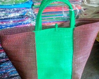 African crafted/weaved bag(green and brown colour) large size