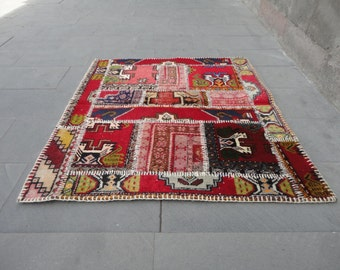 Hand sewing,Turkish patch-work rug,47 x 42 inches