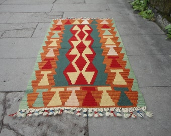 Turkish middle anatolian small wool rug,pileless rug,flat-woven rug,43 x 27 inches