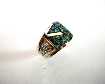 Mystic Sage Turquoise Inlay Ring for the Guy's. Sterling Silver.