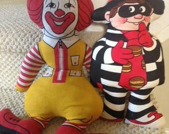 mcdonalds plush toys ronald mcdonald and hamburgler
