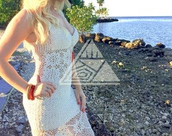 Woman Crochet Dress - maxi crochet dress - elegant dress - summer dress - beach wedding dress - beach dress - ivory cotton - flower knitted