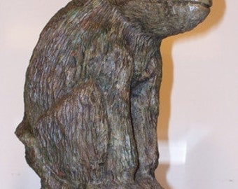 Hand Carved Verdite Sculpture of a Baboon