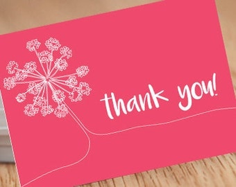 Single-line flower Pink, 5x7 thank you Postcard INSTANT DOWNLOAD