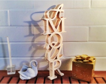Word love wooden