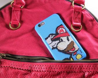 Case IPhone 6 (5/5S), Cross Stitch Case for IPhone 6/6S, Cellphone  Case, Finished Cross Stitch, Mario Cross Stitch, Case Mario Bros, Geek