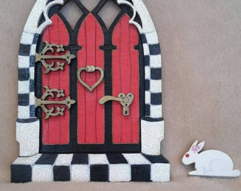 Alices adventures in Wonderland Inspired wall decor. 3D Gothic Fairy Door. Miniature Magical doorway. Mythical decoration. Wooden wall decor
