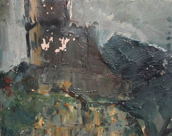 Vintage oil painting abstract avant garde composition