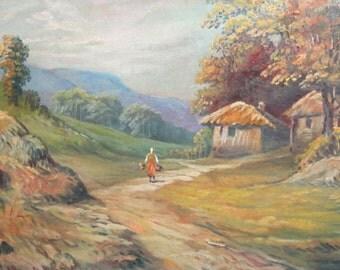 Antique oil painting landscape village scene