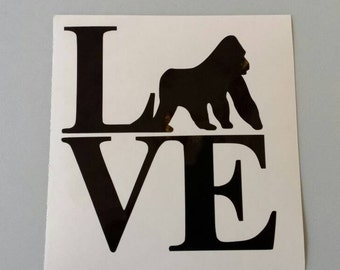 SILVERBACK GORILLA LOVE * Vinyl Car Window Decal .. Free Shipping * Cincy Zoo Cincinnati Endangered Killed Harambe