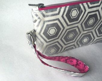 Metallic Silver Zipper Clutch Wristlet