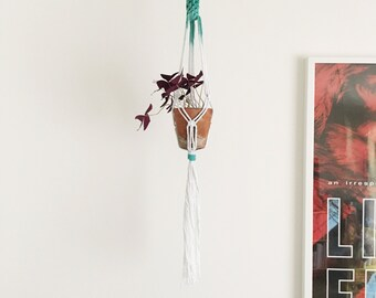 Hanging Macrame Planter // White and Dip-Dyed Teal // Plant Hanger