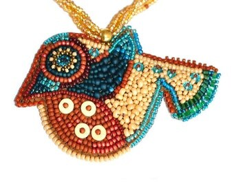 Bead Embroidery Bird Art, Bead picture, Bird necklace, Beaded Necklace, Statement Jewelry, OOAK necklace, Beaded crystals, Gold rope