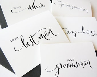 To My Best Man Gift from Groom, Wedding Party Thank You Cards, Best Man Proposal, Best Man Gift Ideas, Groomsmen Gift, (Set of 5), WCP02