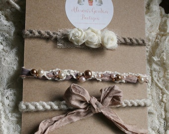 Neutral Creams, Linen, Bronze and Taupes Tieback Set- Newborn Photography Prop