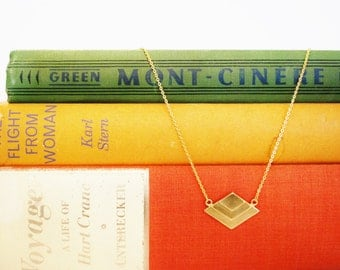 """Brass Stamping Layered Diamond-Shaped Pendant Necklace on 16K Gold Chain, 18"""" Chain length"""