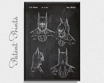 Batman Returns Mask Patent Print, Batman Room Decor, Batman Wall Decor, Batman Wall Art, Batman and Robin