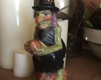 Primitive chalkware Halloween Witch