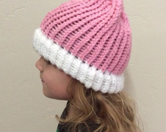 Pink and white Beanie