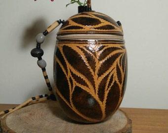 Rare Carved full coconut shell handbag.