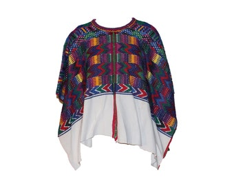 Vintage Mexican Multi Colored Embroidered Short Poncho 1960s