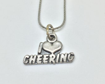 I Love Cheering 925 Silver Charm Vintage, Item 9- Free Shipping within USA