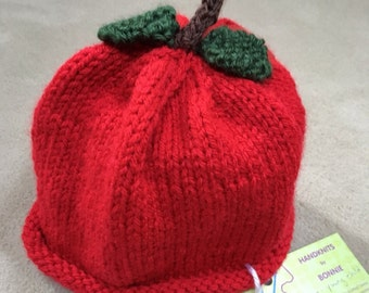 Child's Apple Hat  Sized to fit a young child or toddler