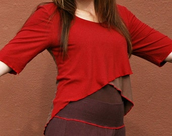 FREE SHIPPING Bamboo Cotton Stretch Half Sleeve Two Tone Criss Cross Top
