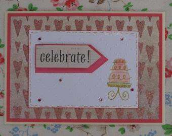 Pink Celebration Cake Birthday Card