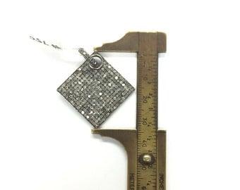 All Diamond Pave Square Pendant