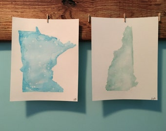 Original State or Country Watercolor Painting