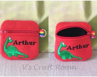 Kids personalised dinosaur coin purse, children, dinosaurs, gifts for children, boy, girl, purse, wallet, coins, money, personalised gift