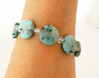 Vintage Chrysoprase Bracelet, Beaded Bracelet, Chrysoprase Bracelet, Blue Green Stone, Blue Green, Chrysoprase, Costume Jewelry
