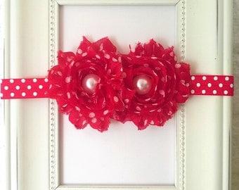 Infant / Baby / Headband / Red polka dot shabby flowers / Red polka dot headband / Photo prop / Baby shower gift