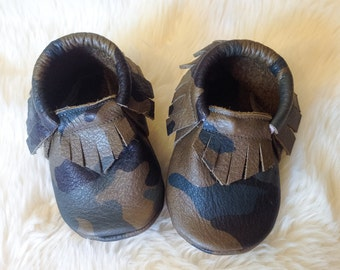 Genuine Leather Baby/ Toddler Moccasins- CAMO