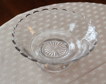 Vintage Pressed Glass Fruit Compote With Scalloped Edge With Star Design