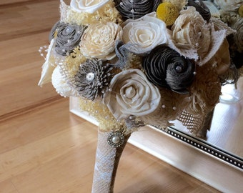 Rustic wedding bouquet, Alternative bouquet, Keepsake bouquet, Bridal bouquet, Bridesmaid bouquet, Grey and white bouquet, Burlap and Pearls