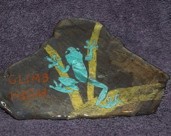 "Hand painted ""Climb High"" inspirational rock"
