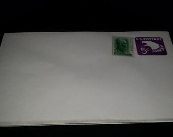 Vintage U.S. Postage Pre Stamped 5 Cent Envelope with 1 Cent Stamp