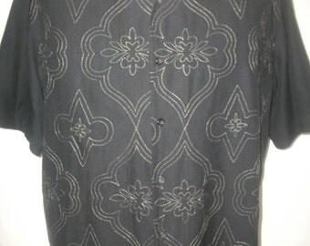 Vintage 90's PARADISE by Axis Silk/Cotton Short Sleeve Shirt Sz XL