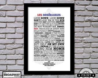 Les Miserables - Framed - Quotes - Lyrics - Typography Print
