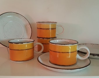 Midwinter Stonehenge Sun Cup and Saucer - English Stoneware - Ironstone - 1970s - 3 available