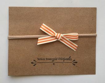 Orange & Cream ribbon bow mini