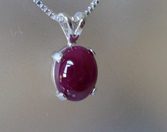Cabochon Ruby in a Sterling Silver Pendant