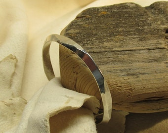 Faceted sterling bangle