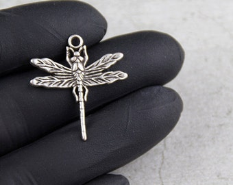 10x dragonfly charms antique silver (ZM41)