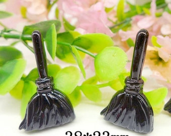 10pcs Black Witches Broom Halloween Party Resin Cabochon Flatbacks Flat Back Scrapbooking Hair Bow Center Frame Craft Making DIY