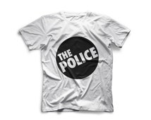 Gray and white T-shirt The Police logo. Nice birthday gift idea for your friend! Short sleeve rock punk clothing. Sting, the Police, reggae
